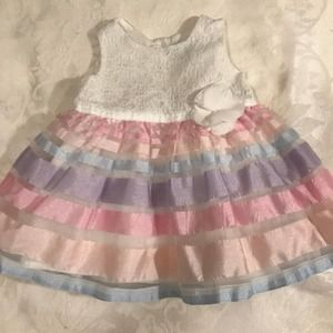Children's Place Girls Formal Striped Dress 3-6M